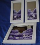 Paintings On Framed Mirrors, Set of 3 Each