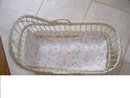 Collectible White Wicker Doll Bassinet