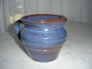Hand Molded Blue Pottery Pitcher