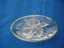 Clear Crystal Glass Dish w/Frosted Orchid Bottom