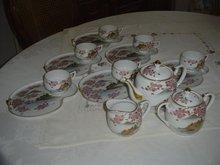 Japanese Translucent Porcelain Tea Set w/Lithopane Geisha Cups