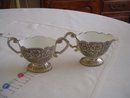 Silver Plated Sugar/Creamer with Porcelain lined Bowls