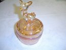 Iridescent Novelty Glass Powder Box with Deer Lid by Jeanette Glass Company