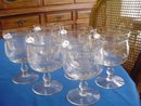 Etched Crystal Glass Individual Dessert and/or Seafood Servers, Set of 6