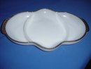 White Glass Divided Dish By Fire King Ware