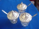 1847 Style Crystal Glass Condiment Servers  w/Silver Plated Tops and Spoons. Set of 3