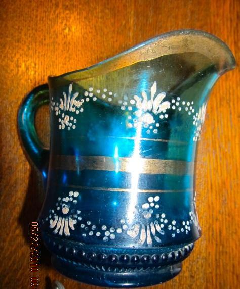 Enameled Pressed Glass Cream Pitcher