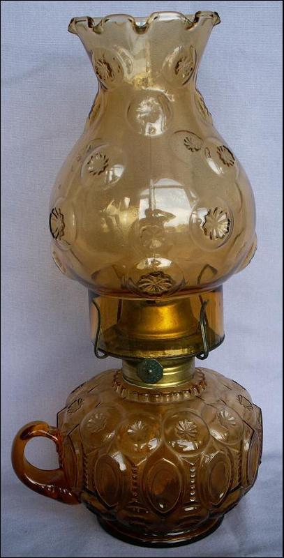 Moon & Stars Amber Glass Oil Lamp w/ Finger Hole