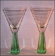 Two Green Stem Martini Glasses