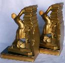 JB Hirsch HOLD THOSE BOOKS Cast Metal w/ Celluloid Head Bookends - Metalware