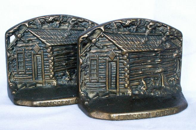 LINCOLN CABIN Cast Iron Bookends- Metalware