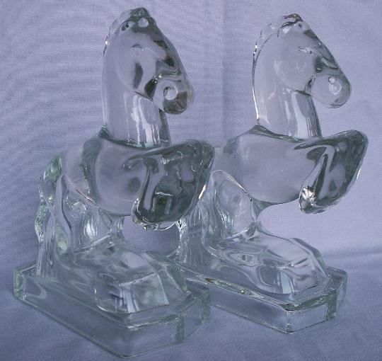 Clear Glass REARING HORSE Bookends