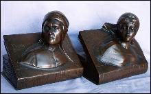 Jennings Brothers DANTE & BEATRICE BOOKS Cast Metal Bookends - Metalware