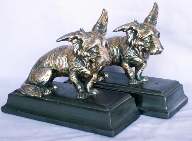 Jennings Brothers SILVER SCOTTIES Cast Metal Bookends - Metalware