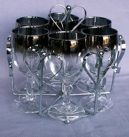 Six Stemmed Wine Glasses in Chromed Carrier