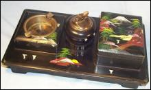 Collectible, Tobacciana, Oriental Smoker's Set and Music Box.