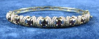 Genuine GARNET 14k Yellow Gold Bangle Bracelet - Antique Gold Jewelry