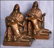 Cast Metal JESUS & MARY Bookends - Metalware