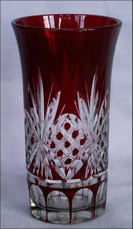 Four Red Flash Brandy Glasses Cut to Clear Design