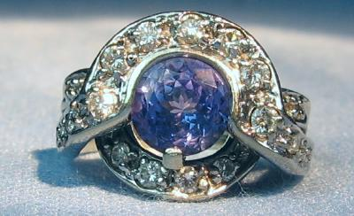 Tanzanite & Diamond Ring 14k White Gold Estate Jewelry