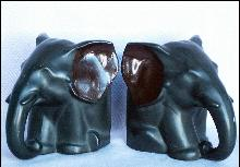 Cast Metal SITTING ELEPHANT Bookends - Metalware