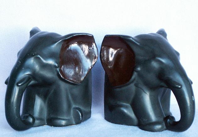 Cast Metal SITTING ELEPHANT Bookends - Metalware