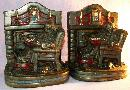 Cast Metal Polychrome FIREPLACE COMFORT Bookends - Metalware