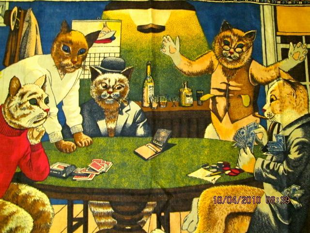 Cats Playing Poker DRINKING smoking Betting TAPESTRY