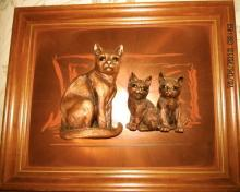 Copper Craft 3-D Cat with twin kittens Signed + Framed