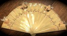 CELLULOID Ivory Hand-painted FAN - plastics