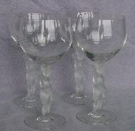 Four Crystal Frosted Figural Stem Water Glasses - Glass