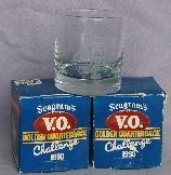 Two SEAGRAM'S V.O. Golden Quarterback Challlenge 1990 Cocktail Glasses in Original Boxes - Sporting