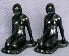 KNEELING NUDE Cast Metal Bookends - Metalware