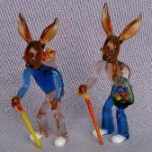 Two Art Glass RABBITS w/ CANES Figurines