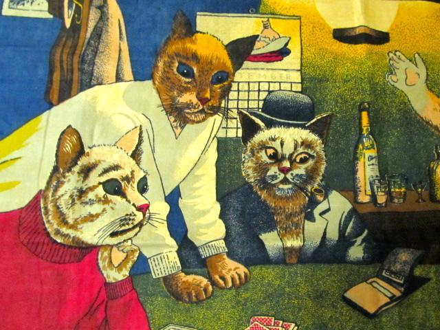 VINTAGE TAPESTRY- CATS PLAYING POLKER