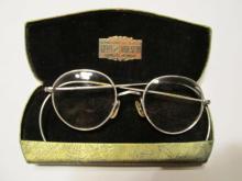 12 K White Glasses Bifocals Round in Case - Glass