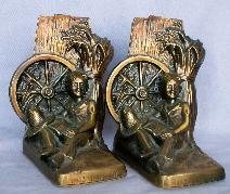 HUCKLEBERRY FINN Cast Metal Bronzed Bookends - Metalware