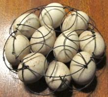 Wire Folding Egg Basket with Eggs - Metalware
