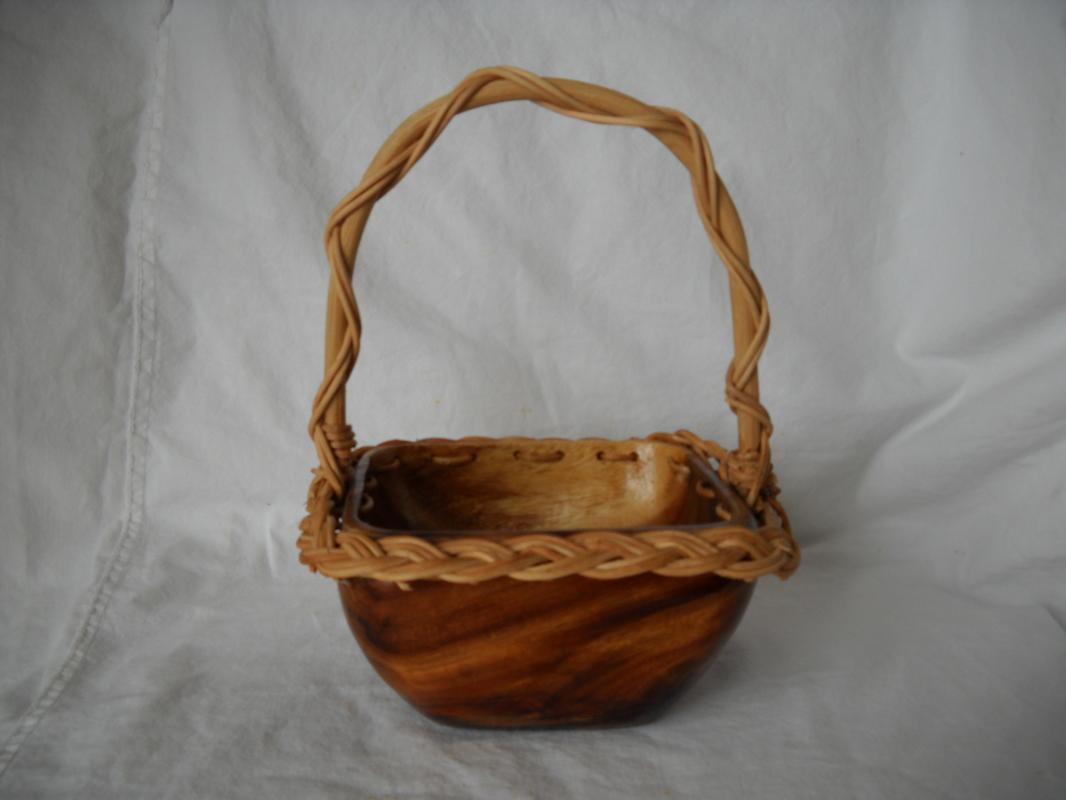 Handcrafted burl wood and vine basket