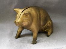 SEATED PIG Cast Iron Bank - Metalware