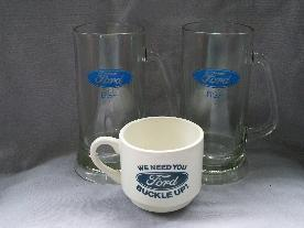 Two Glass FORD Mugs and One Ceramic FORD Coffee Cup