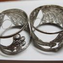 Peacock Sterling Napkin Ring Pair - Sterling Silver