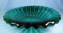 1950's Italian Glass Bowl - Retro Teal Green Color