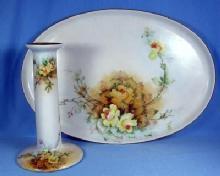 Hand Painted DRESSER TRAY & CANDLEHOLDER - MZ Austrian Ware - Austria Porcelain