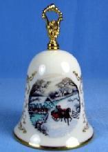 1983 Gorham CHRISTMAS Hand Bell - Vintage Porcelain