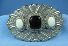 Silver Ebony & White  Hair Clip - Vintage Jewelry Accessory