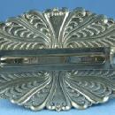 Silver Ebony & White  Hair Clip - Vintage Jewelry Accessory
