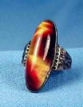 Jewelry  Fire Agate and Sterling Silver Ring - Vintage Jewelry