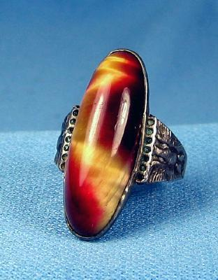 Fire Agate and Sterling Silver Ring - Vintage Jewelry