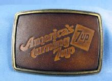 7up Soft Drink  Advertising Belt Buckle - Leather Belt Buckle AMERICA'S TURNING 7up ...